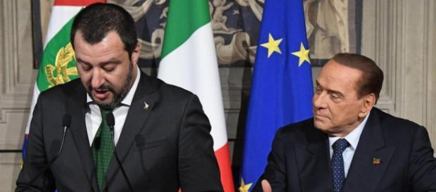 Matteo Salvini e Silvio Berlusconi al termine delle consultazioni al Quirinale