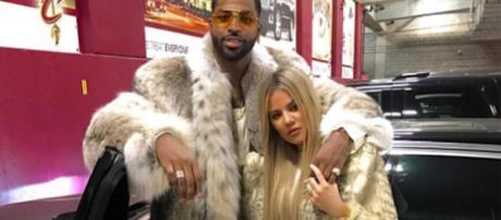 Tristan Thompson and Khloe Kardashian pose in fur. [Photo via Instagram]