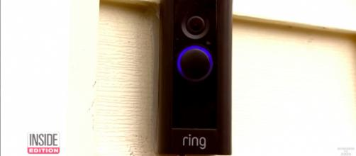 Amazon's Ring Video Doorbell provides video and a two-way speaker integrated through smart devices. [image source: Inside Edition via YouTube]