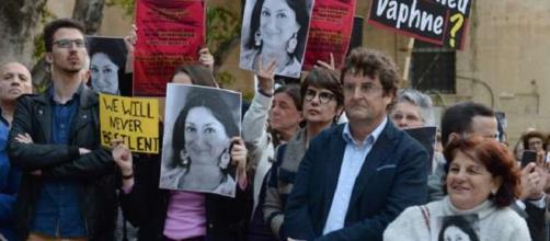 Manifestación en Malta, en recuerdo de Daphne Caruana, seis meses después de su asesinato.