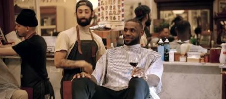 LeBron enjoys some wine while talking sports at 'The Shop' [Image via UNINTERRUPTED / YouTube Screencap]
