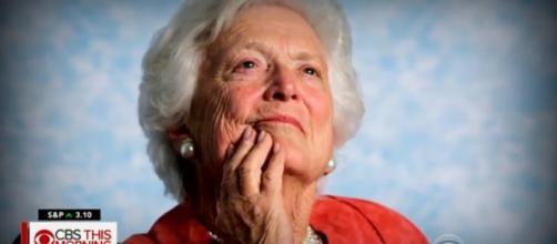 Barbara Bush passed away peacefully April 17 at 92. - [Image source: CBS News / YouTube screencap]
