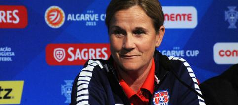 Jill Ellis during a press conference after a game. - [Anders Henrikson via Flickr]