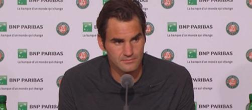 Roger Federer during a press conference at the 2015 French Open. Photo: screenshot via Roland Garros channel on YouTube