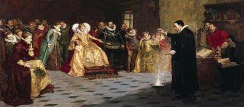 """John Dee realizando un experimento ante Isabel I de Inglaterra"", por Henry Gillard Glindoni."