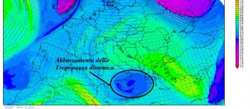 Carta meteorologica della tropopausa dinamica