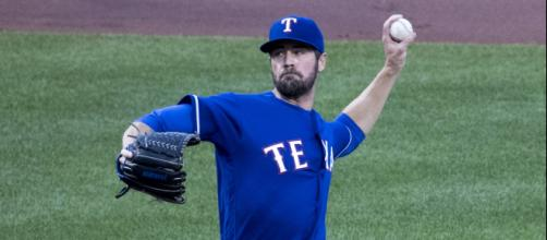 Cole Hamels of the Texas Rangers could be targeted by the New York Yankees later in the season. - [Image Via Keith Allison, Flickr]