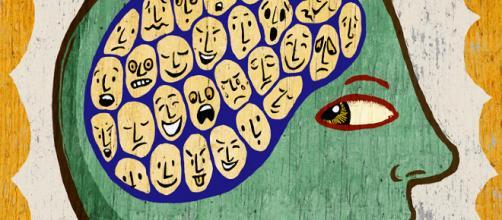 In alto, immagine artistica della schizofrenia