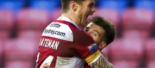 Joel Bateman embraces Oliver Gildart after the latter's try on Friday night. Image Source - rugby-league.com