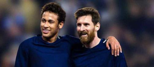 Leo Messi com o brasileiro Neymar