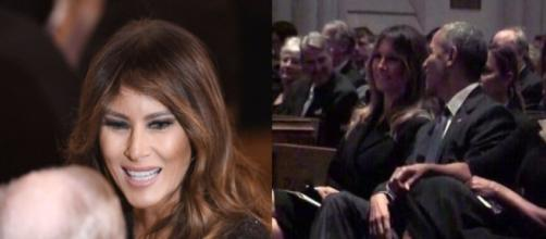 Melania Trump at Barbara Bush funeral, via Twitter