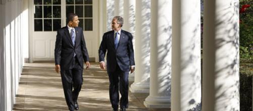 Presidents Bush and Obama [image courtesy White House wikimedia commons]