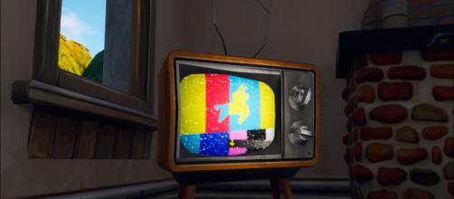 """Fortnite"" televisions all have an emergency broadcast displayed. [Image source - MrDalekJD/YouTube]"