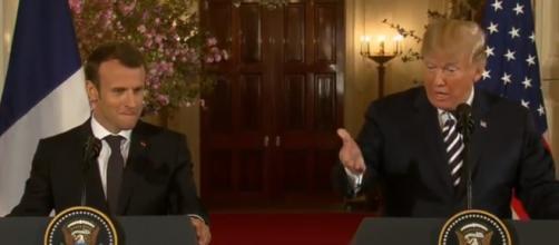President Trump and France's Macron address White House reporters [Image via ABC News / YouTube Screencap]