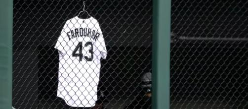 The Chicago White Sox hang Farquhar's jersey while the pitcher recovers from a brain scare. [image source: CBS This Morning/YouTube screenshot}