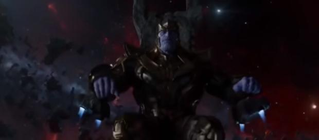 Thanos sits on his throne while taling to Ronan the Accuser. [Image via Mald3x/YouTube screencap]