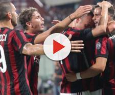 Milan - esultanza giocatori rossoneri