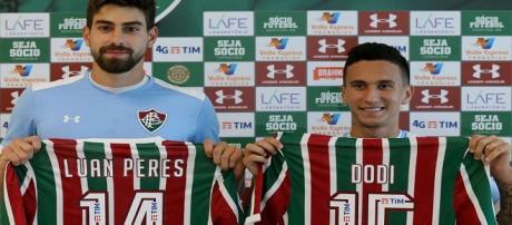 Luan Peres e Dodi, novos reforços do Fluminense (Foto: Lucas Merçon).