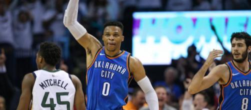 Russell Westbrook comandou a reação de seu time e foi o cestinha do jogo. (Foto: Layne Murdoch/NBAE via Getty Images/AFP)