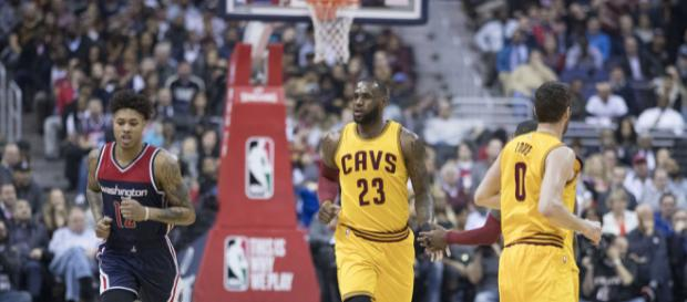 LeBron pictured with Kevin Love. - [Image via Keith Allison / Flickr]