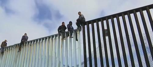 Migrants from South America at Tijuana-U.S. border. [Image credit: Associated Press/YouTube]