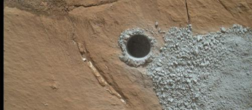 NASA's Curiosity Mars Rover drilled hole to collect sample material (Image credit: NASA/JPL-Caltech/MSSS, Wikimedia Commons)