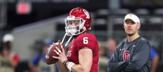 The Cleveland Browns made Oklahoma QB Baker Mayfield their top selection at the 2018 NFL Draft. [Image via ESPN/YouTube]