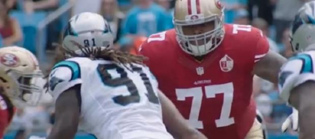 Trent Brown (77) will be a key addition to the Patriots (Image Credit: San Francisco 49ers/YouTube)