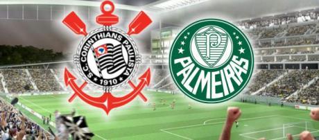 Escudo do Corinthians ao lado do Palmeiras. (foto reprodução).