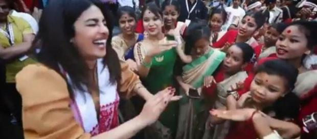 Priyanka Chopra dances Bihu with the school children in Assam (Photo credit: Priyanka/ instagram)