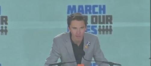 David Hogg address the March for Our Lives rally [Image Credit/ YouTube capture]