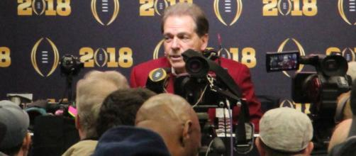 Saban addresses the media prior to the CFP. - [image via Wikimedia Commons]