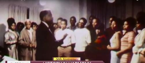 Singers of Prairie View A&M University a cappella concert choir honor MLK 50 years ago and today. Screencap CBS This Morning/YouTube