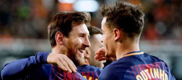 Leo Messi vai se dando bem com Coutinho no Barça