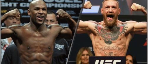 Mayweather vs. McGregor in an MMA fight – [image credit: UFC/YouTube]