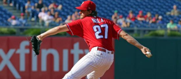Aaron Nola and the Phillies are flying high so far in 2018. [Image via USA Today Sports/YouTube]