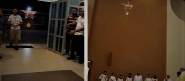 Due fermo immagine tratte dal video: JESUS SACRAMENTADO LEVADO POR UM DRONE https://www.youtube.com/watch?time_continue=5&v=TJ64uAoQjrs