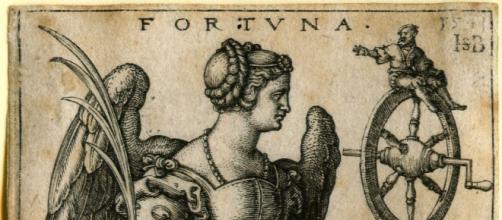 La diosa Fortuna sujetando la rueda que lleva su nombre (Wikipedia)