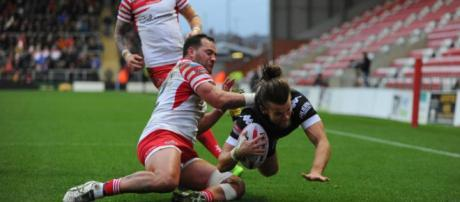 Liam Kay dives over for a try in Toronto's round one win over Leigh. Image Source - thestar.com