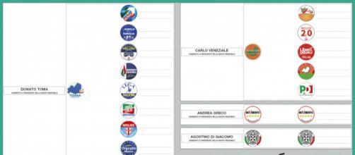 Fac-simile scheda elezioni regionali Molise 2018