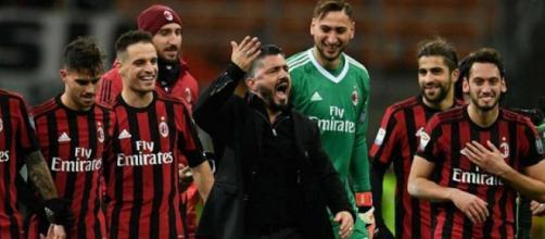Gattuso e team, esultanza Milan