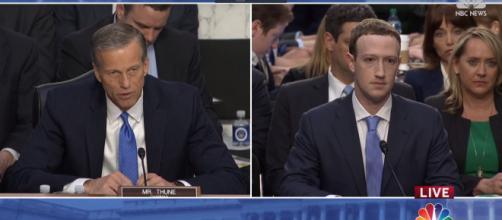 Mark Zuckerberg testifying before the Senate. Image via NBC News/YouTube screenshot
