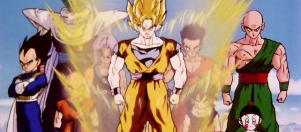 Die Helden aus Dragon Ball Z, vorne im Bild Son Goku als Super Saiyajin