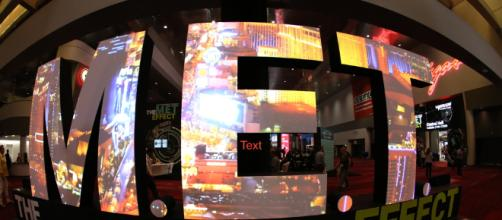 The M.E.T. Effect Sign stands for the NAB Convention in Las Vegas. (Image via Robb Cohen Photography and Video.)
