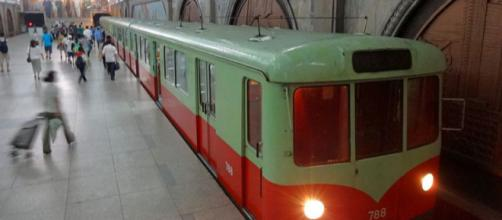 Subway train in a metro station in Pyongyang, North Korea (Image credit – Roman Bansen, Wikimedia Commons)
