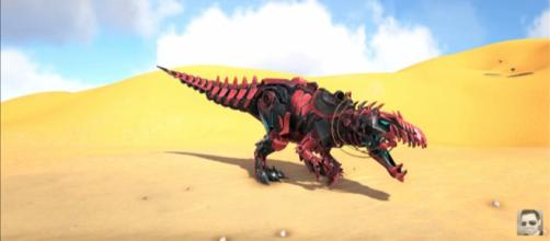 A Tek Giganotosaurus in 'ARK: Survival Evolved' - (Image Credit: KingDaddyDMAC/YouTube)