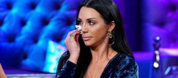 Scheana Marie cries during the 'Vanderpump Rules' Season 6 reunion. - [Photo via Bravo / YouTube screencap]