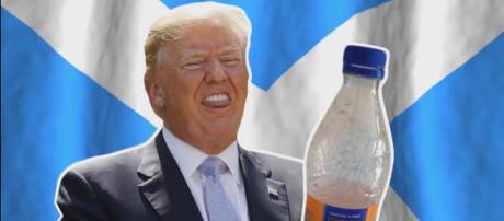 Donald Trump has upset Scotland by banning Irn-Bru at his Ayrshire golf resort. [Image ICYMI/YouTube]