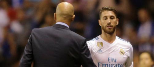 Sergio Ramos com o treinador Zidane