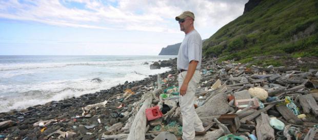 Oceangoing trash accumulates on the windward (eastern) side of the Hawaiian Island of Niihau. [Image source: Polihale - Wikimedia Commons]